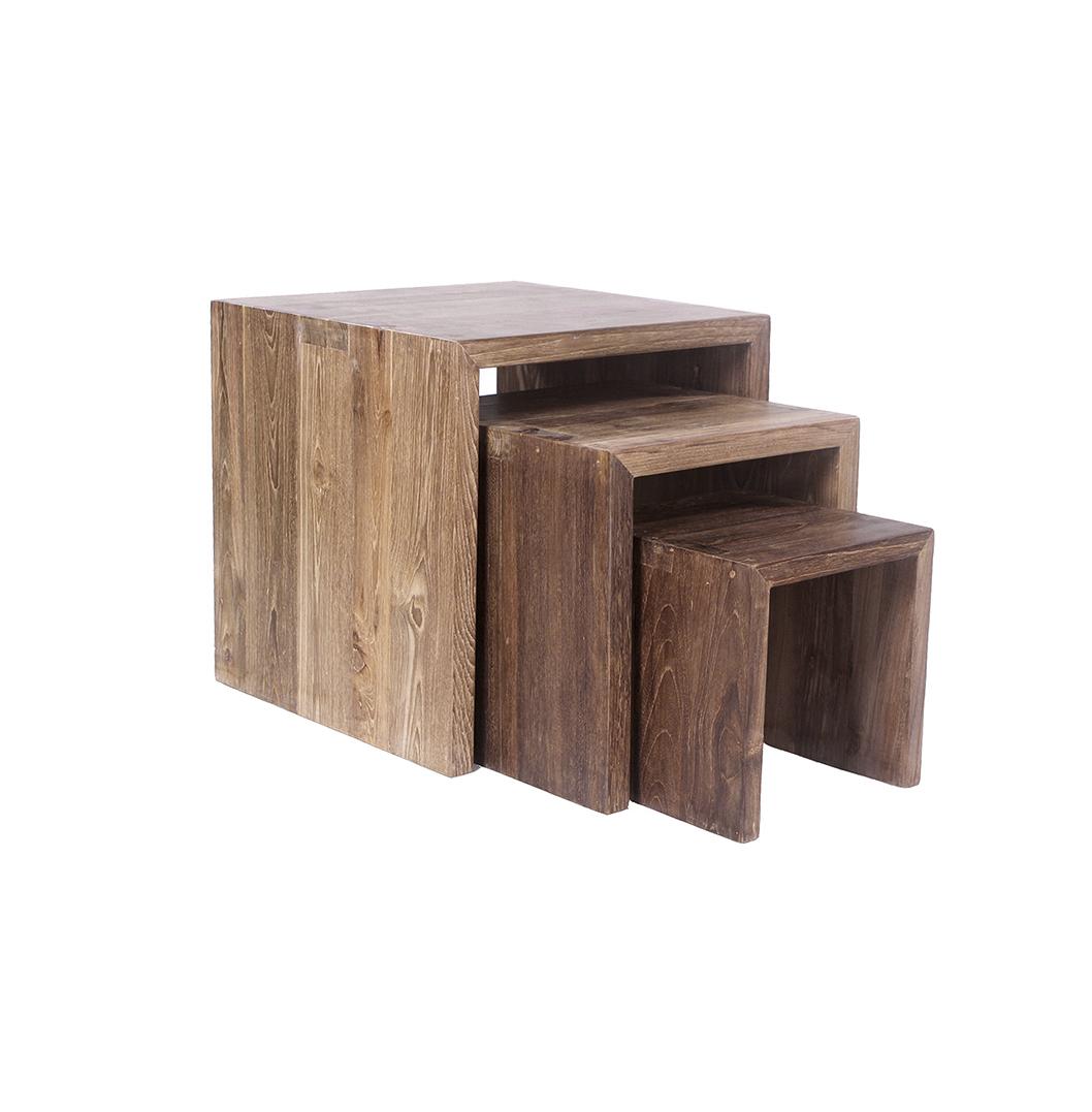 Mawun Reclaimed Teak Nest of Tables_1