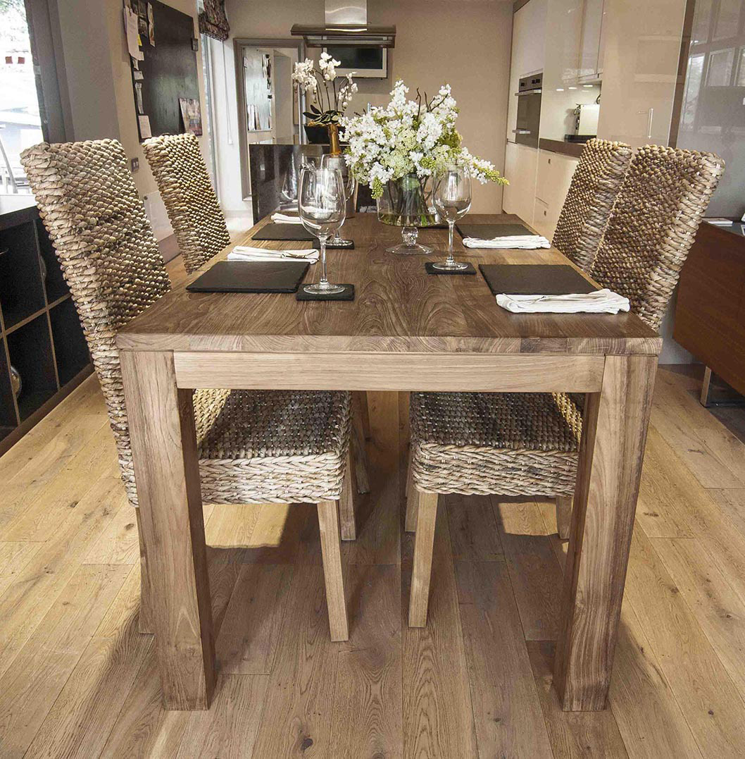 Tutuk 160cm Reclaimed Dining Set with 4 Banana Leaf Chairs