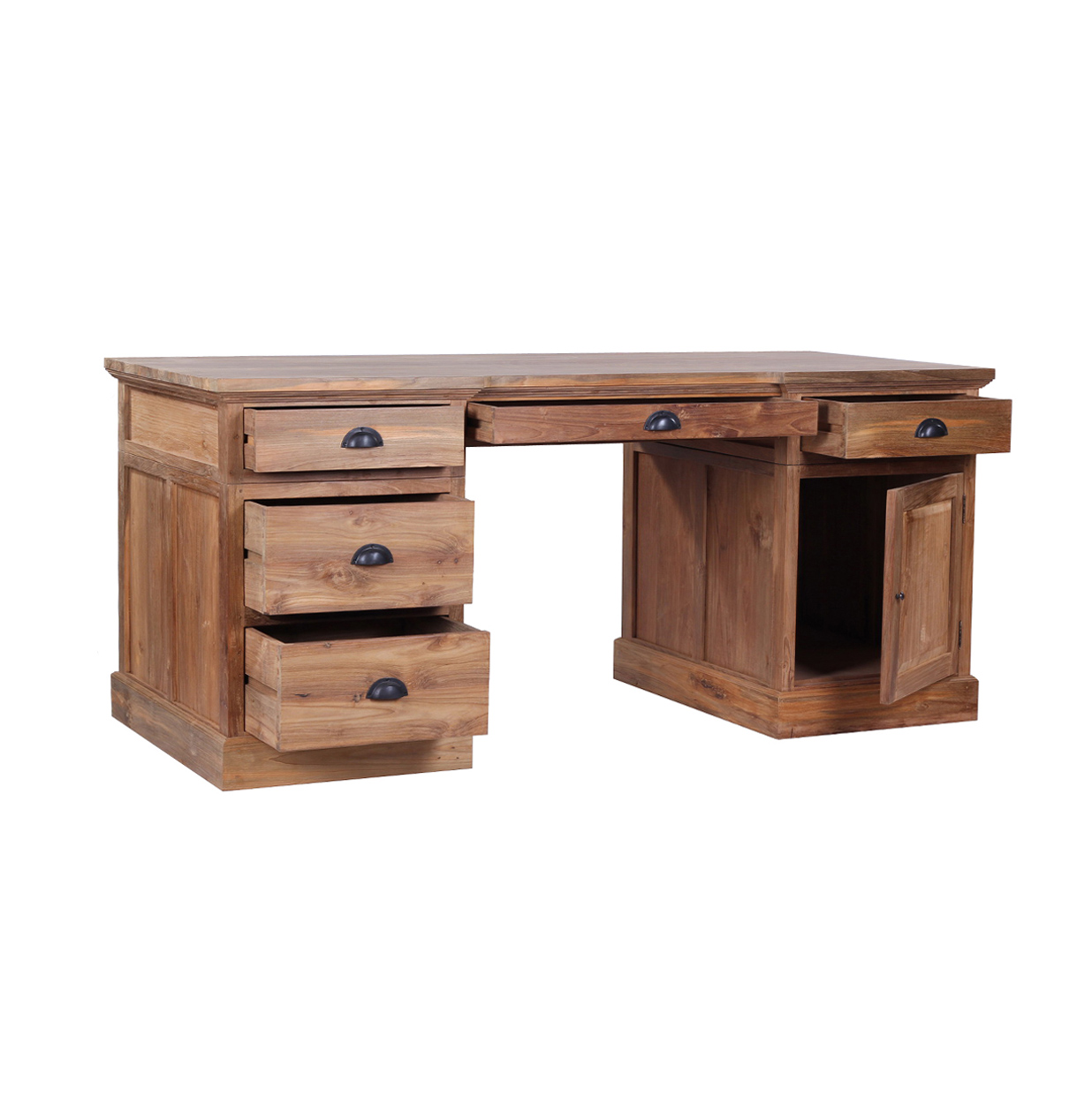Reclaimed wood desk the lembar classic styling solid for Hardwood office desk