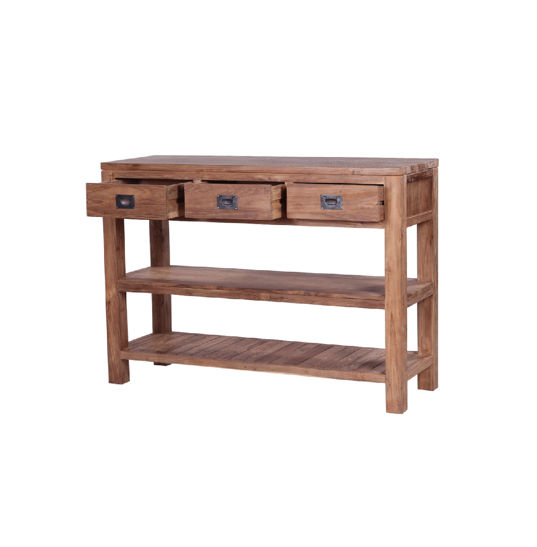 Reclaimed wood console table the tanjung by ombak handmade tanjung reclaimed wood console table geotapseo Image collections