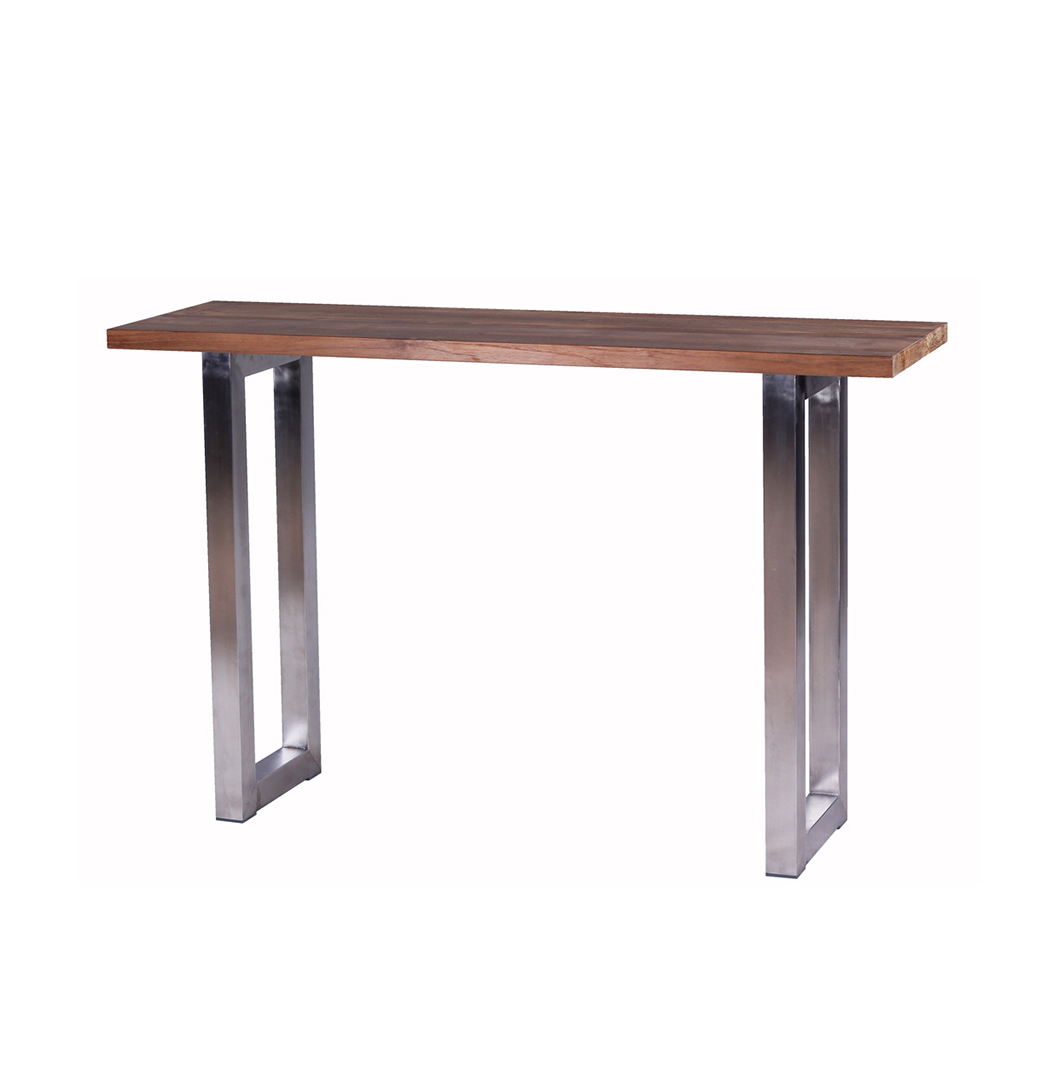 Industrial Console Table Reclaimed Teak And Stainless Steel