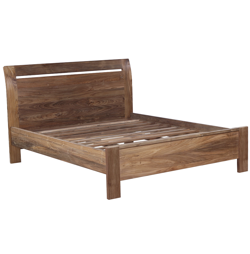 Reclaimed Wood Bed Set Including Bed And Bedside Tables