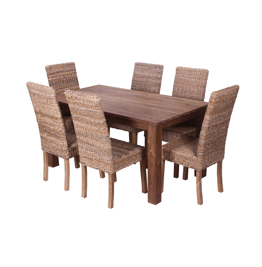 pancor 180cm reclaimed wood table 6 chairs ebay. Black Bedroom Furniture Sets. Home Design Ideas
