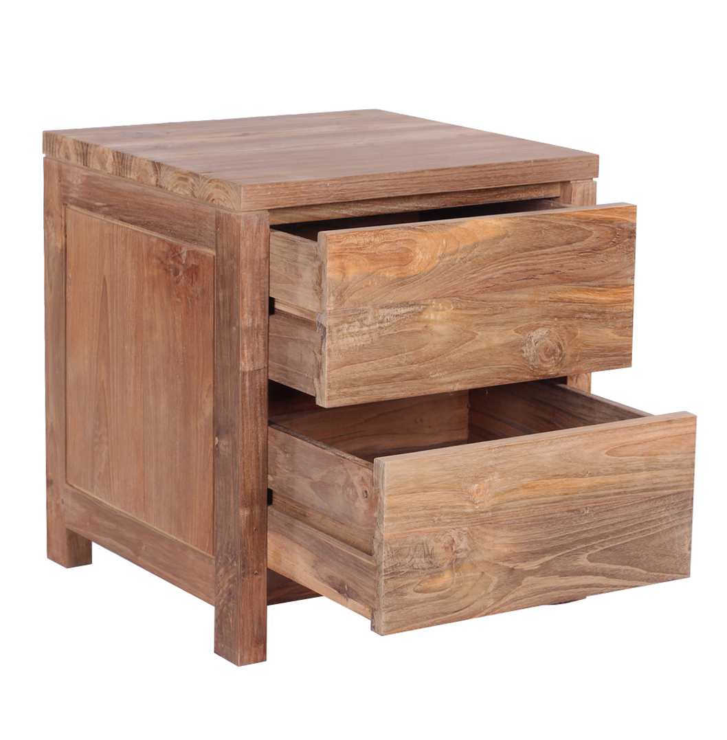 Reclaimed wood bed set including and bedside tables