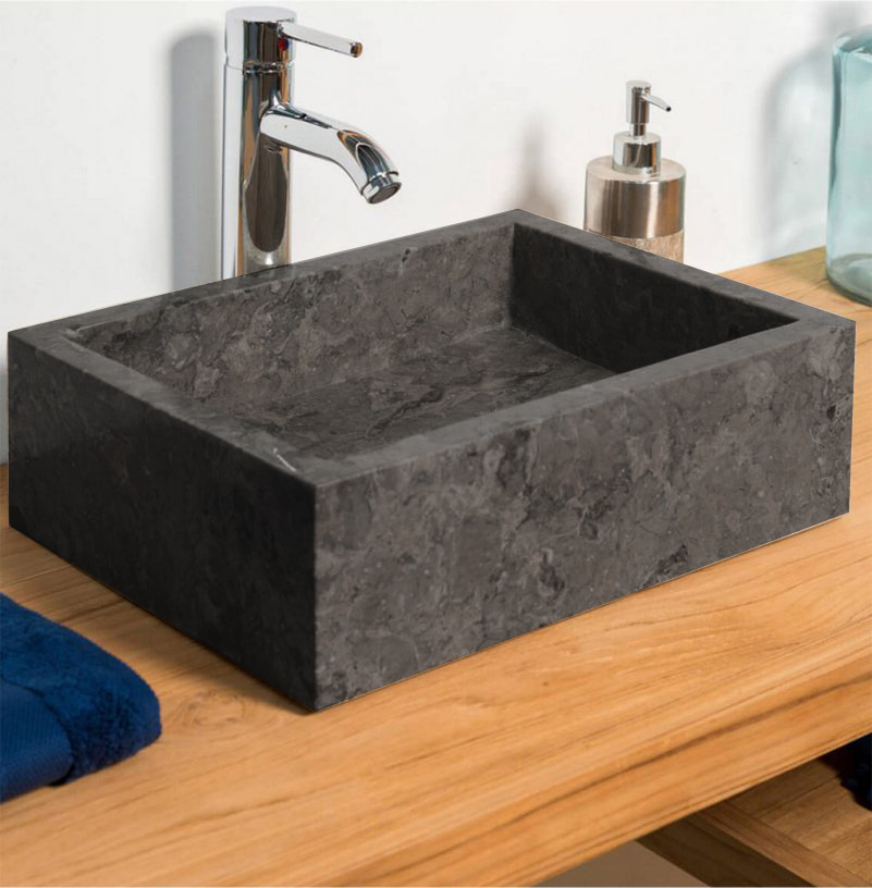 OMBAK - Grey Polished Rectangular Stone Sink – 50 x 35 x 12cm1