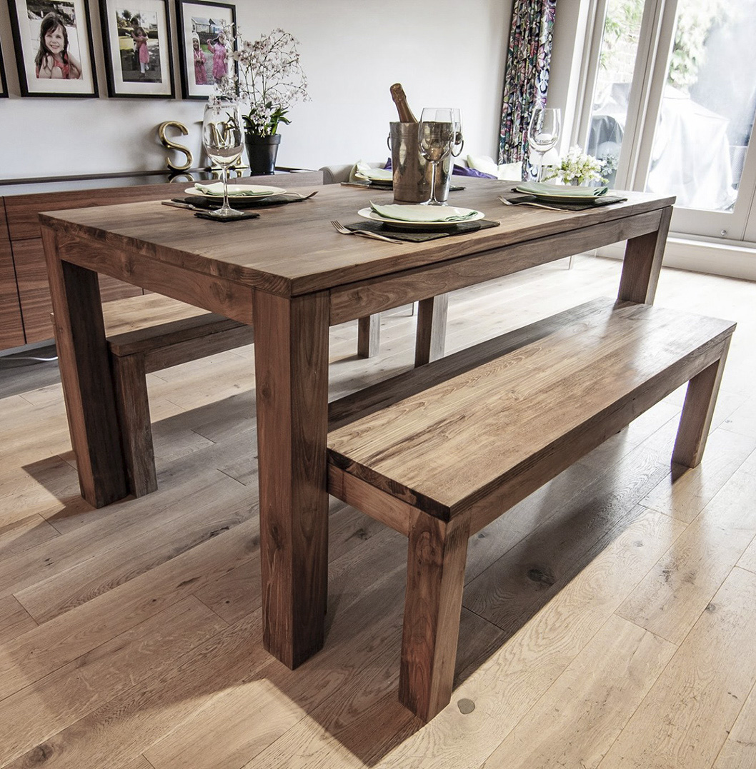 Dining Table With A Bench: Karang Reclaimed Wood Dining Table And Benches
