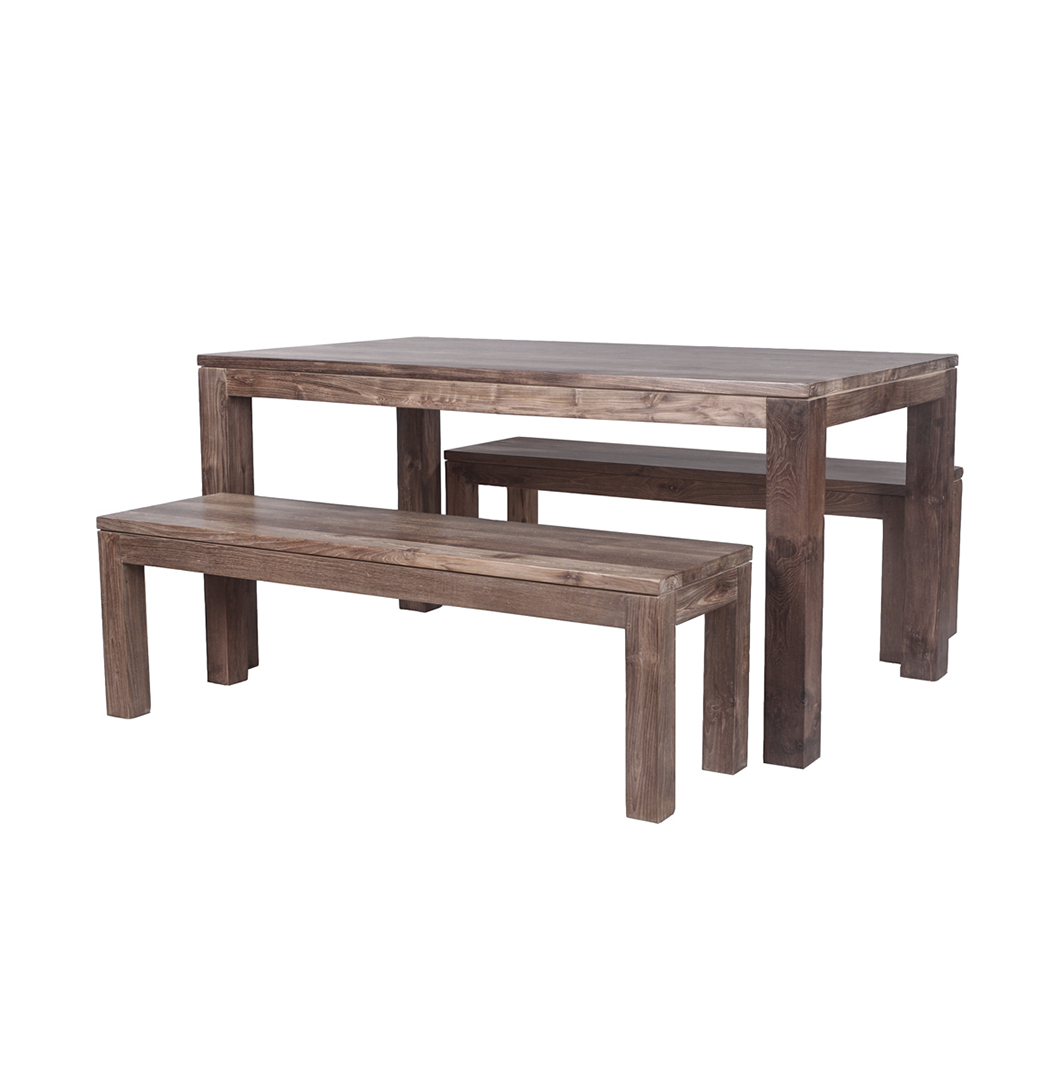 39 karang 39 reclaimed wood dining table and benches stunning for Hardwood dining table