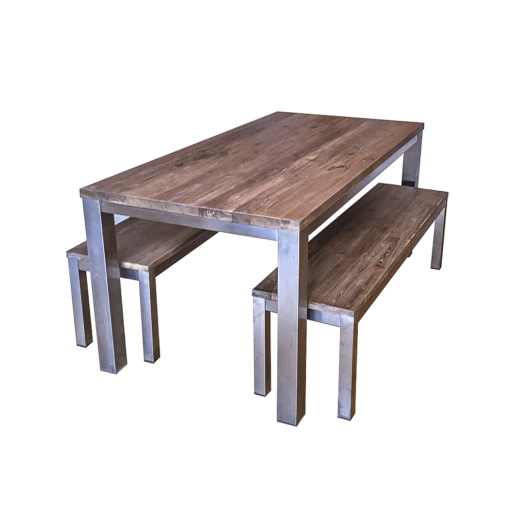 Koeta industrial dining table and benches - Industrial kitchen tables ...