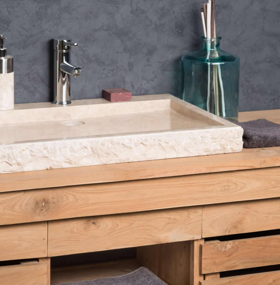 Large Stone Sink Marble Cream Rectangular 70cm Ombak