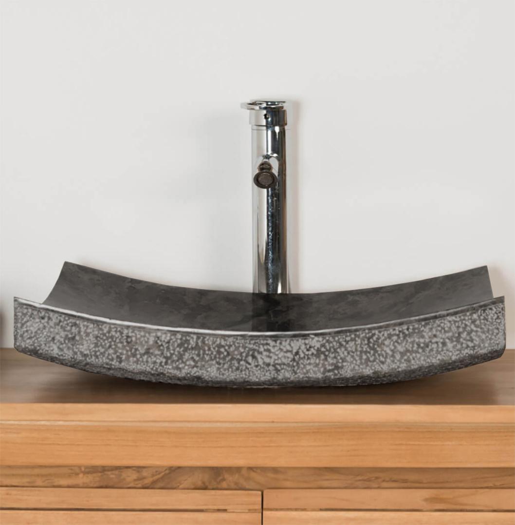 OMBAK - Grey Hammered 'Zen Style' Basin – 50 x 40 x 12cm3