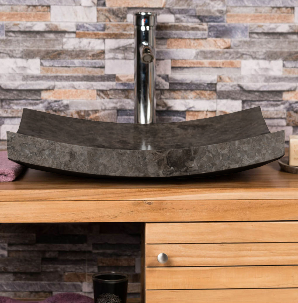 OMBAK - Grey Polished 'Zen Style' Basin – 50 x 40 x 12cm3