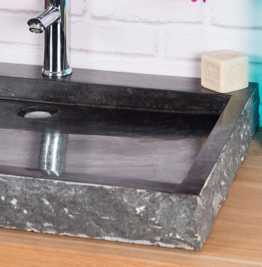 Large Stone Sink Marble Black Rectangular 70cm Ombak
