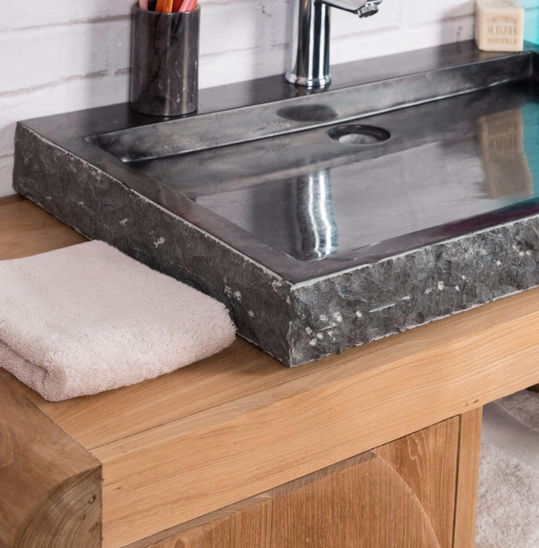 Rustic Solid Wood 11 Drawer Rectangular Pedestal Home: Large Stone Sink. Marble Black Rectangular