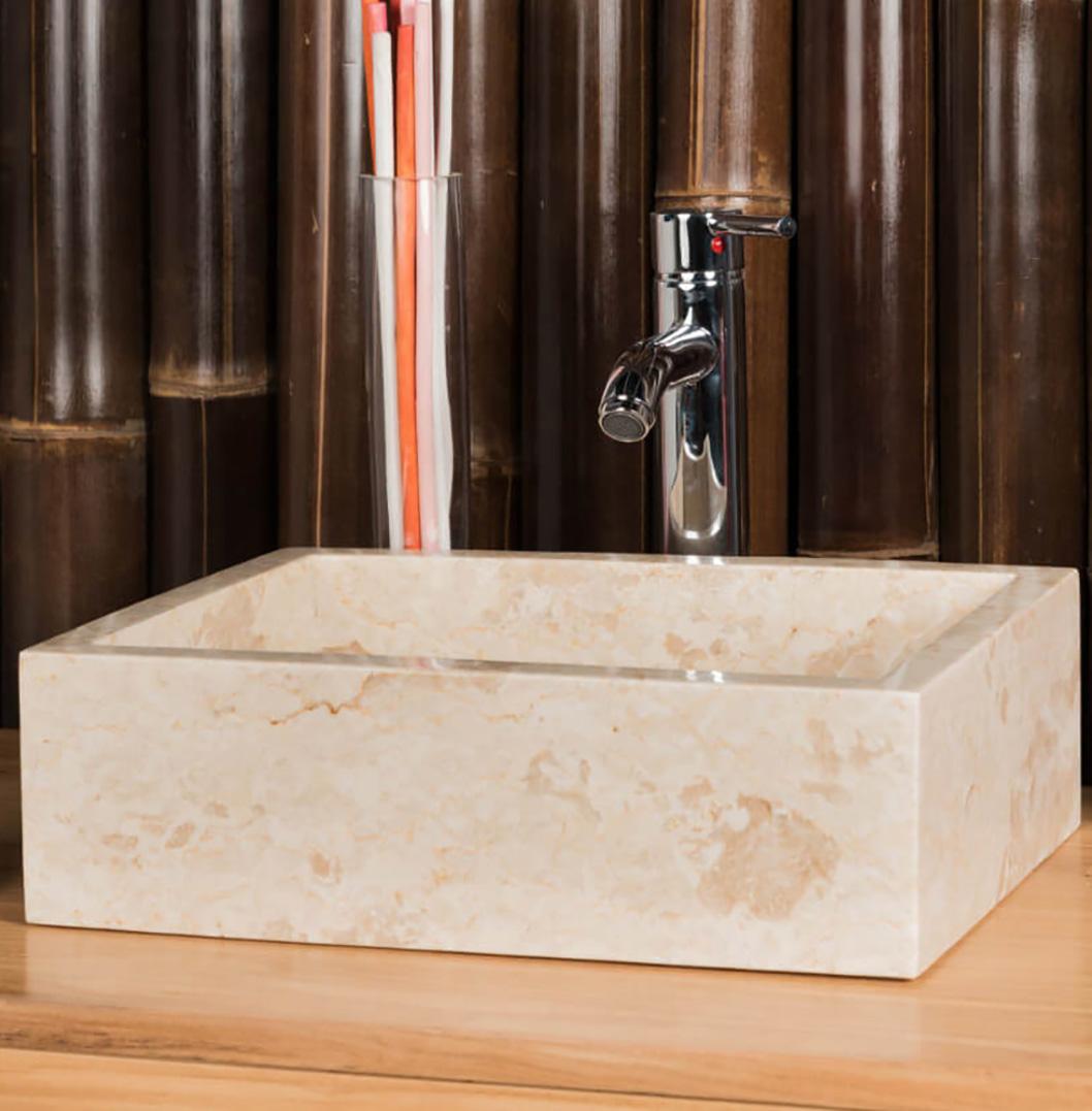 BATHROOM WASHBASIN TO SET MILAN RECTANGLE 30CM X 40CM CREAM4