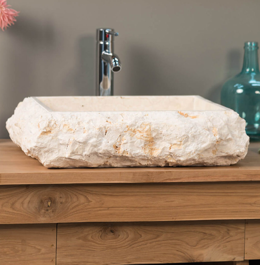 COUNTER TOP WASHBASIN IN MARBLE NAPLES CREAM1