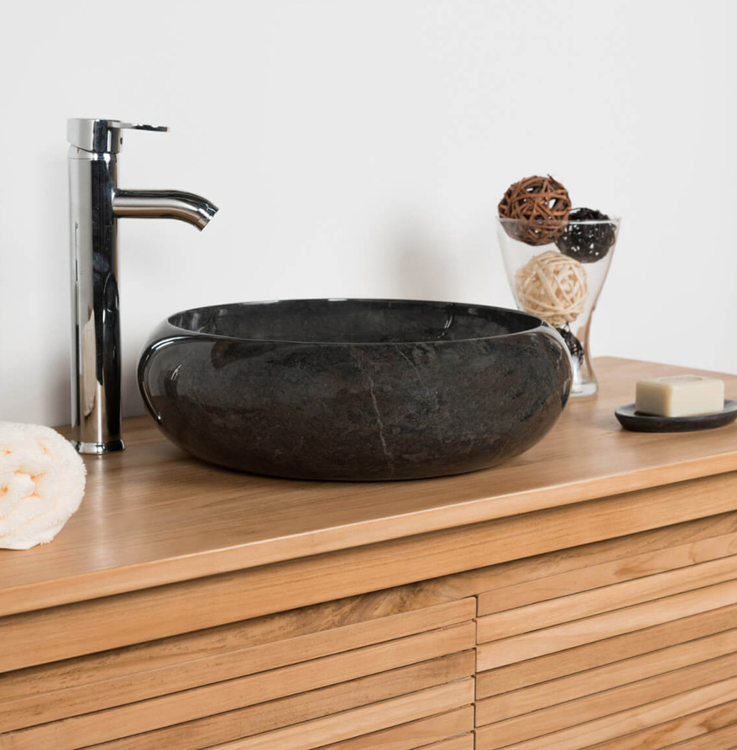 COUNTER TOP WASHBAaSIN IN MARBLE VENISE BLACK 40CM