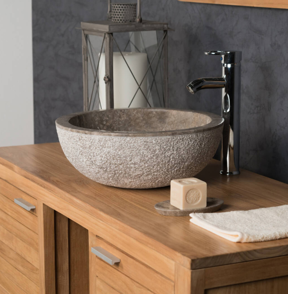 MARBLE COUNTER TOP WASHBASIN STROMBOLI GRAY TAUPE 40CM