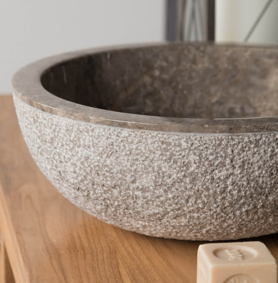 Polished Grey Stone Sink With Hammered Outer Finish 40 X