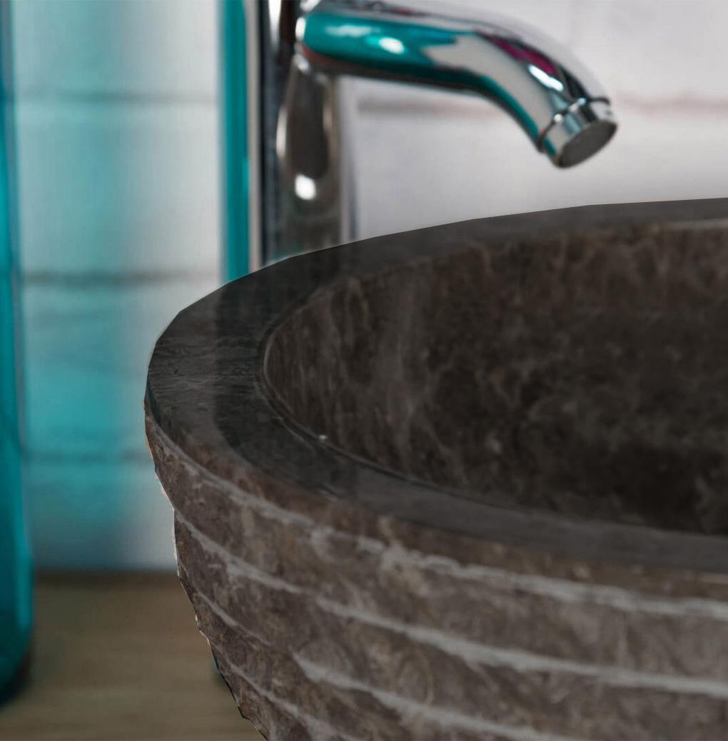 OMBAK – Grey Carved Pattern Stone Bowl Sink – 40 x 15cm