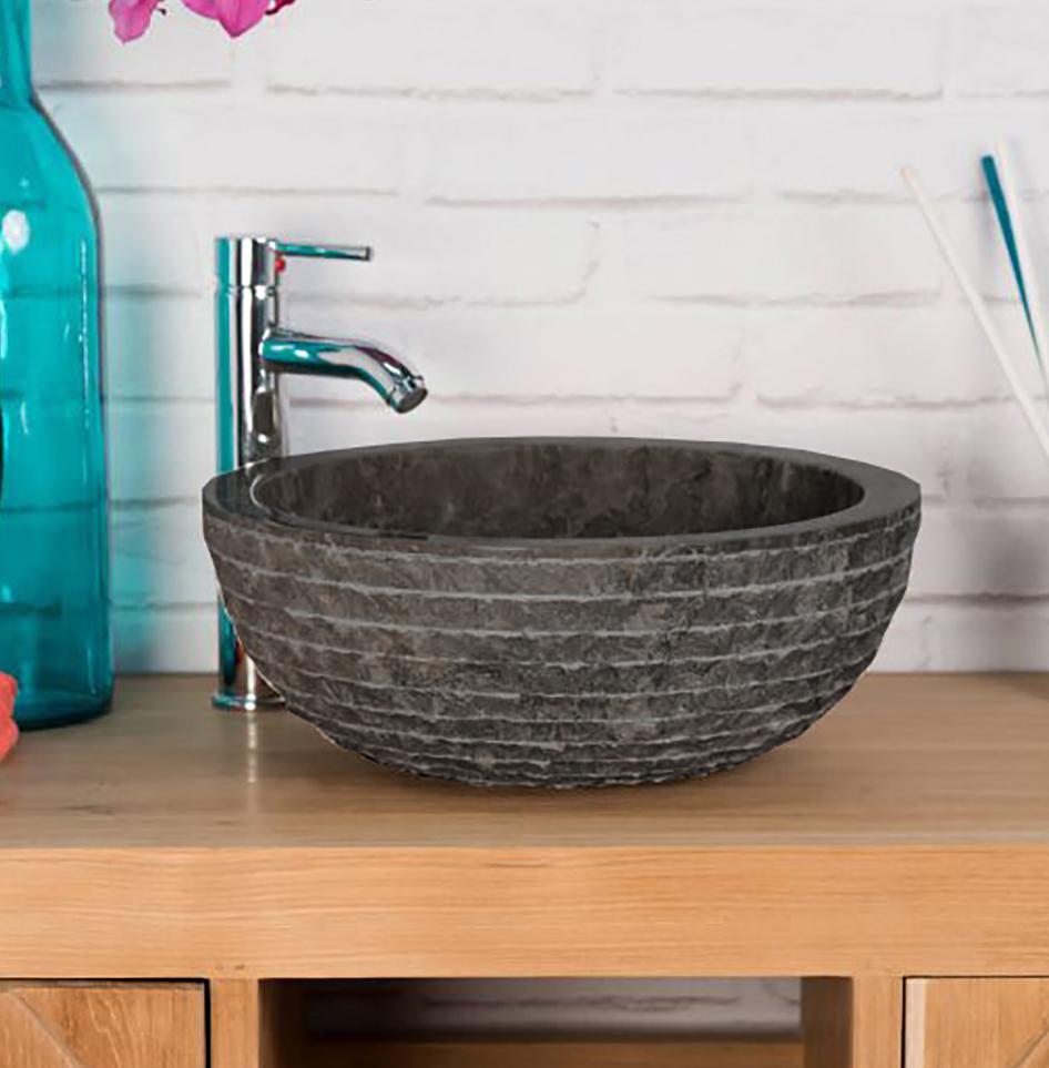 OMBAK - Grey Carved Pattern Stone Bowl Sink – 40 x 15cm1