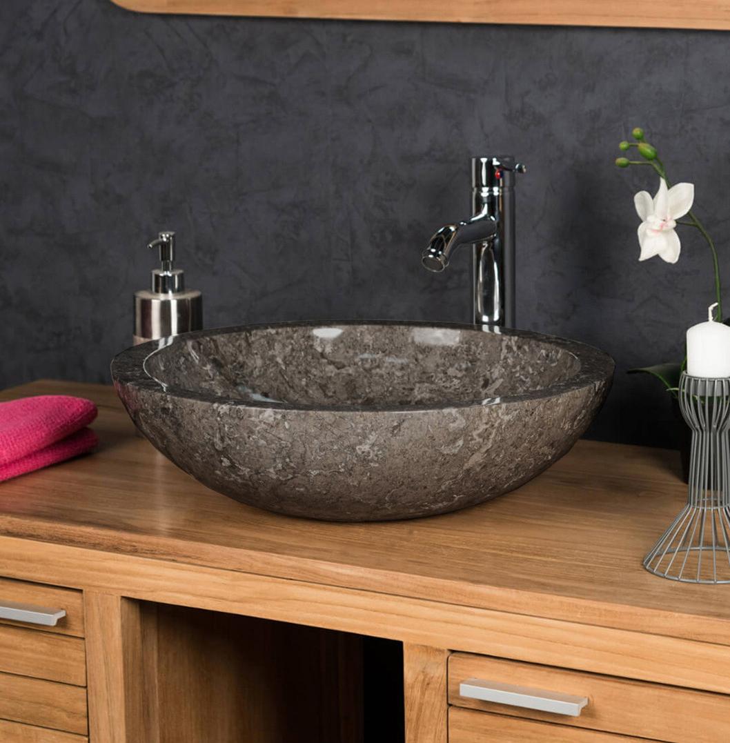 OMBAK - Grey Full Polished Stone Vessel Sink. 40 x 15cm1