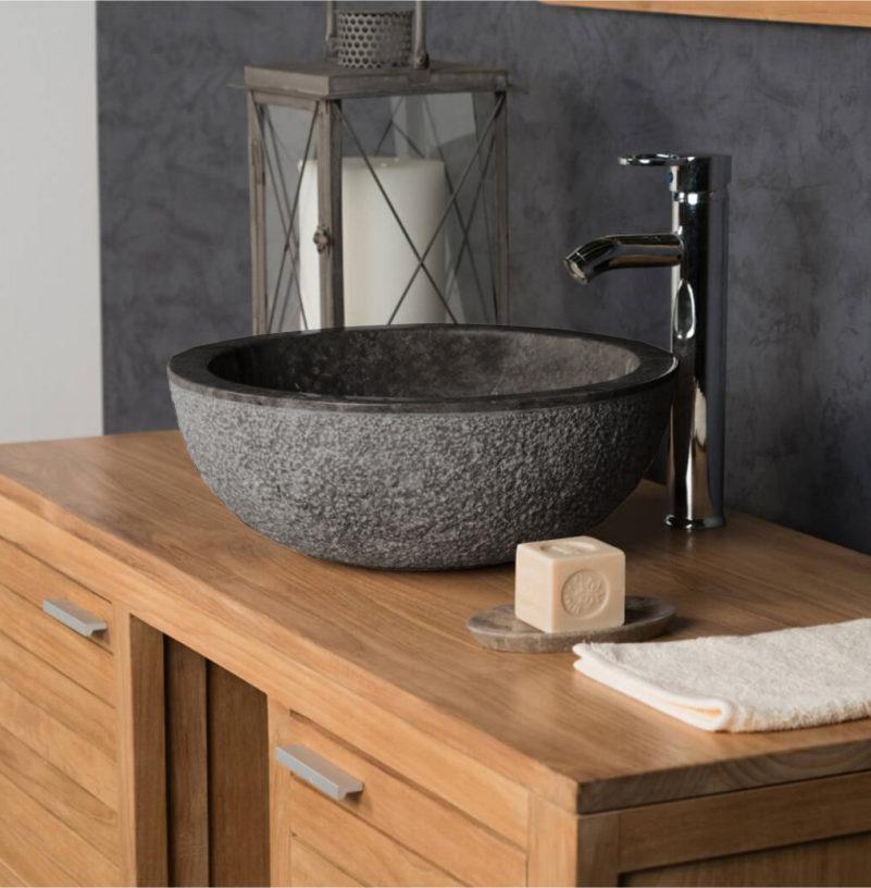 OMBAK - Grey Hammered Basin. Marble Sink – 40 x 15cm1