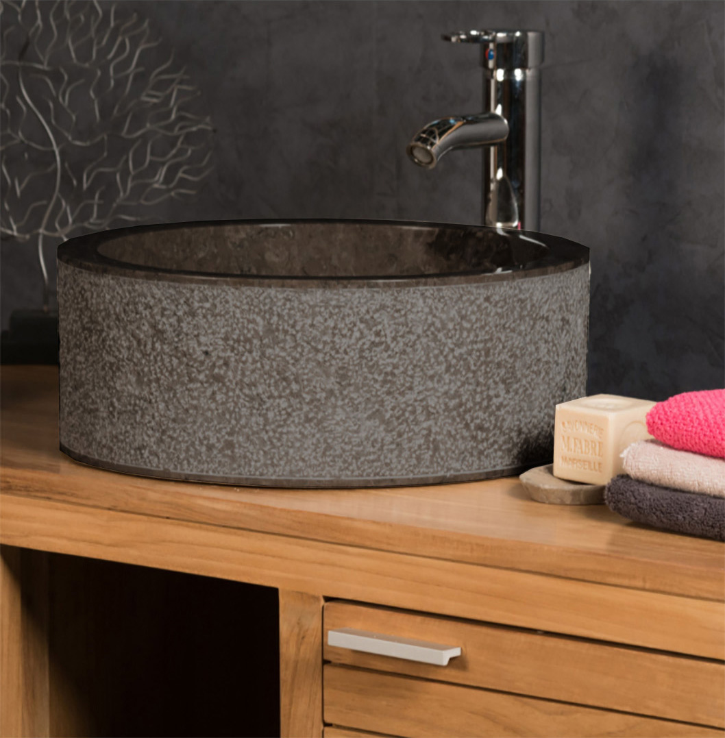 OMBAK - Grey Stone Basin. Cylindrical Vessel Sink – 40 x 15cm4