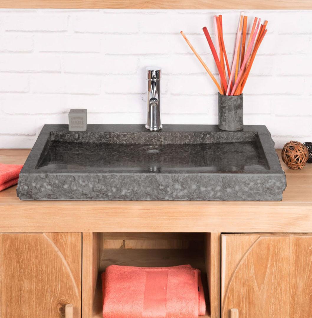 OMBAK - Large Grey Rectangular Stone Sink – 70 x 48 x 7.5cm1
