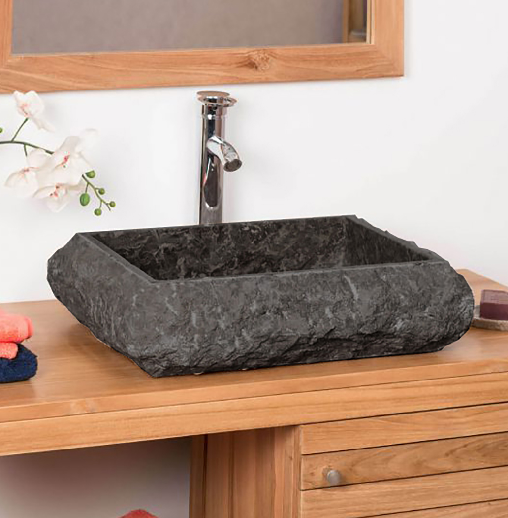 OMBAK - Rough Hewn Grey Rectangular Stone Sink – 50 x 40 x 12.5cm1