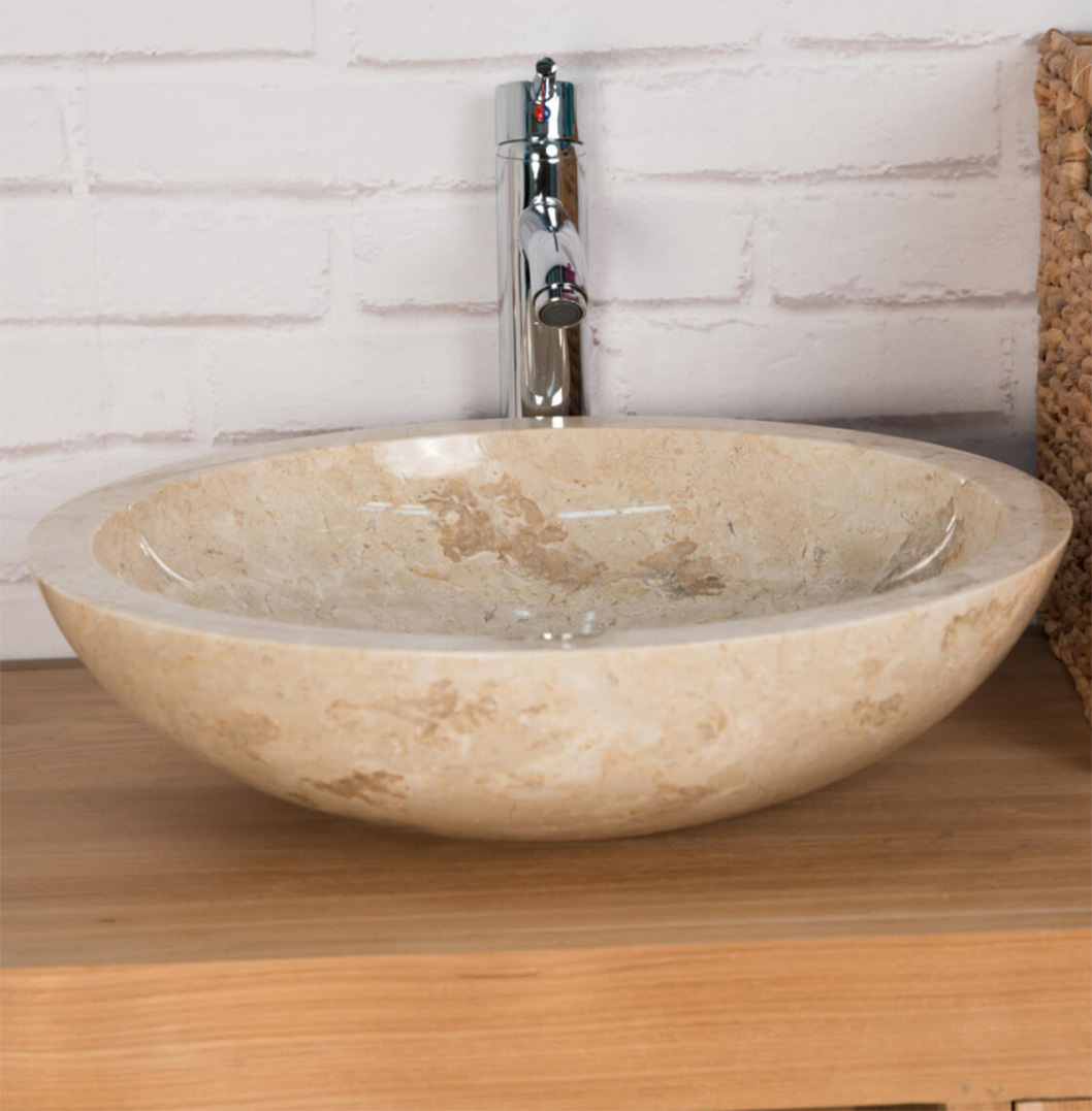 polished stone basin  cream sink