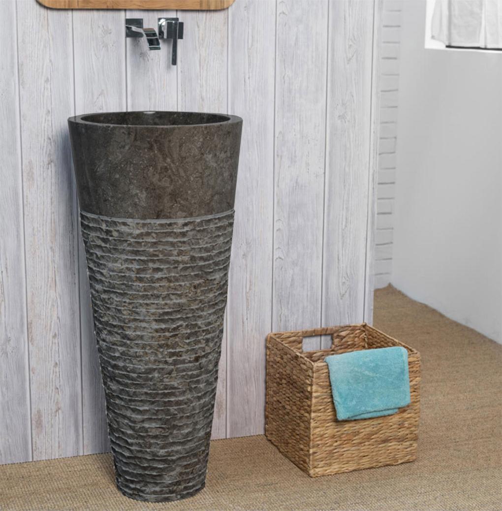 OMBAK - Grey Carved Pedestal Basin – 90 x 40cm